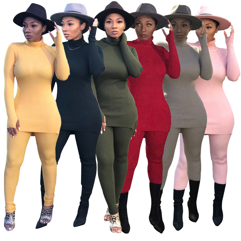 2020 Hot Sale Europe And America Autumn And Winter Women's Sweater Cotton Velvet Solid Color Suit Casual Two-piece