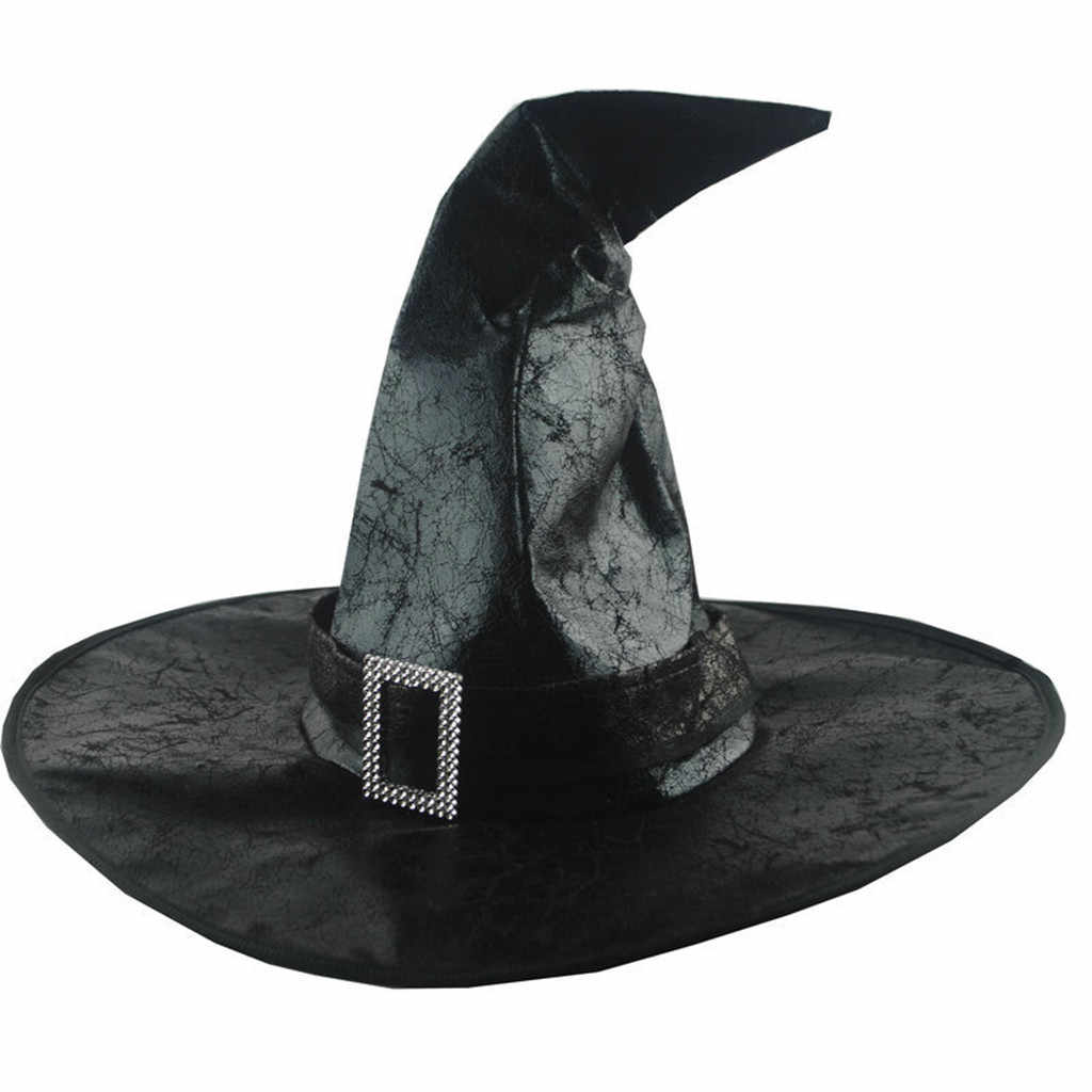 Nero Cappelli di Streghe Donne di Grandi Increspato Cappello Travestimento Cappello Da Mago Cappellini per feste e party Cosplay Del Partito di Halloween Fancy Dress Decor Dramma Cappello Superiore