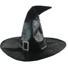 Chapéus de bruxa preto feminino grande ruched hat masquerade feiticeiro chapéu de festa chapéus cosplay festa de halloween vestido engraçado decoração drama topo