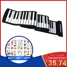 88 Keys MIDI Roll up Piano Silicone Electronic Keyboard Piano Flexible Professional USB Electronic organ