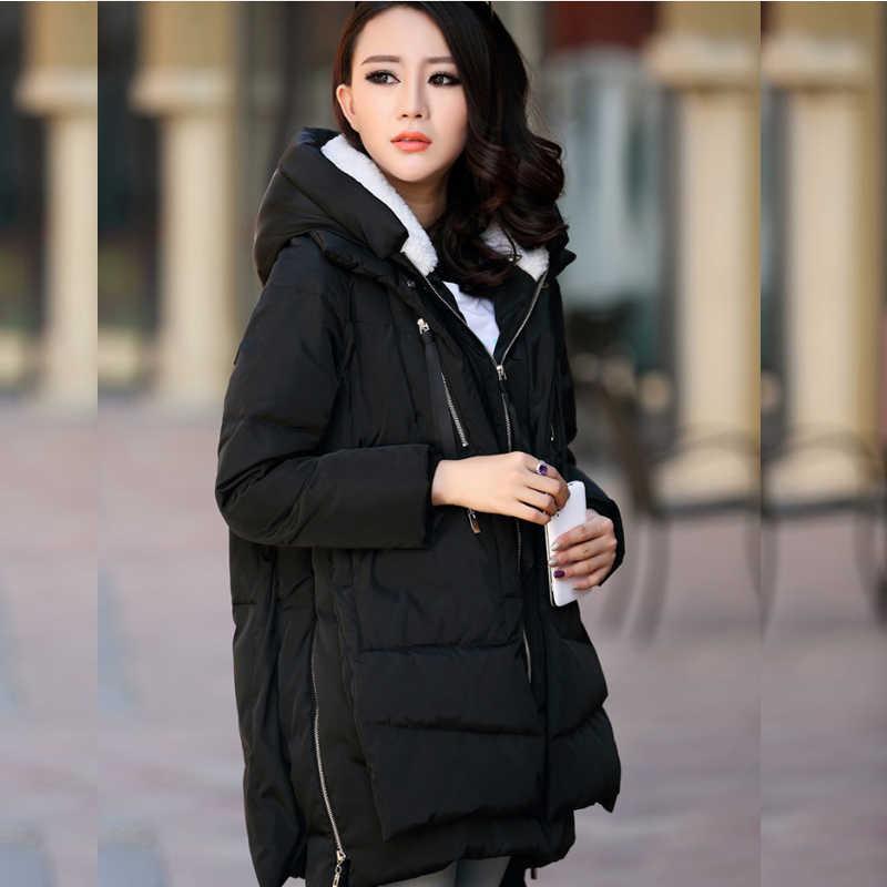 Maternity Mantel Musim Dingin Panjang Berkerudung Menebalkan Jaket Kasual untuk Wanita Hamil Kehamilan Pakaian Pakaian Plus Ukuran S-5XL