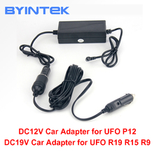 Byintek veículo auto adaptador de energia do carro, dc12v/19 tensão, 19 v para ufo r15 r19 u50 e 12v para ufo p12 p20 u30
