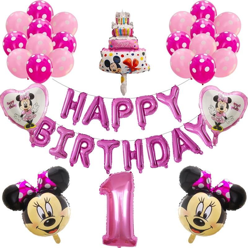 29 sztuk Mickey Minnie Mouse balony Mickey Mouse dekoracje na przyjęcie urodzinowe Baby Shower 30 cal balon w kształcie cyfry zabawki dla dzieci Globos dostaw