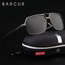 BARCUR الألومنيوم الاستقطاب الرجال النظارات الشمسية مرآة نظارات شمسية مربع حملق نظارات اكسسوارات للرجال أو النساء الإناث