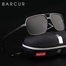 BARCUR אלומיניום מקוטב Mens משקפי שמש מראה מרובעות Goggle Eyewear אביזרי עבור גברים או נשים נשי