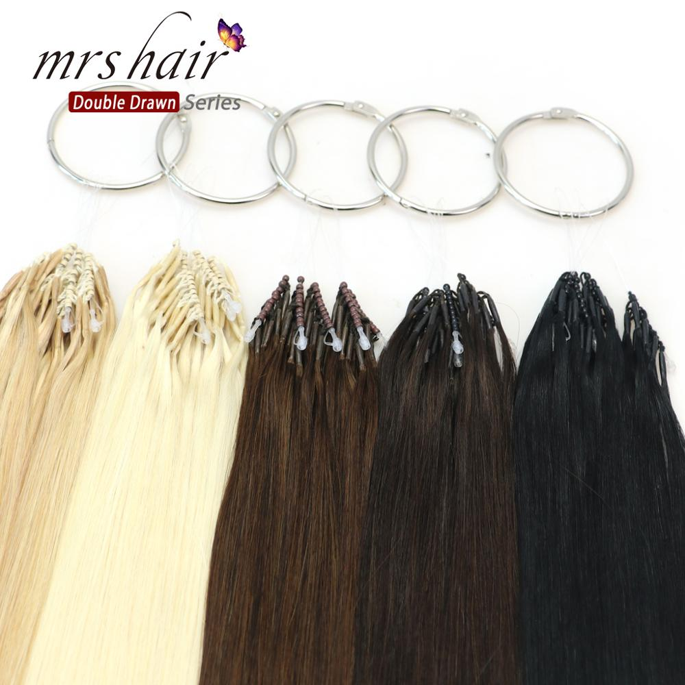 MRSHAIR 8D Micro Bead Hair Extensions 5pcs/lot Human Hair Double Drawn Thick End Straight Remy Hair For Women 50 Strands/set