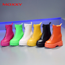 2019 New Wedge Boots Women Shoes Sexy High Heel Zip Leather Orange Yellow Green Black White Red Rain Ankle Platform