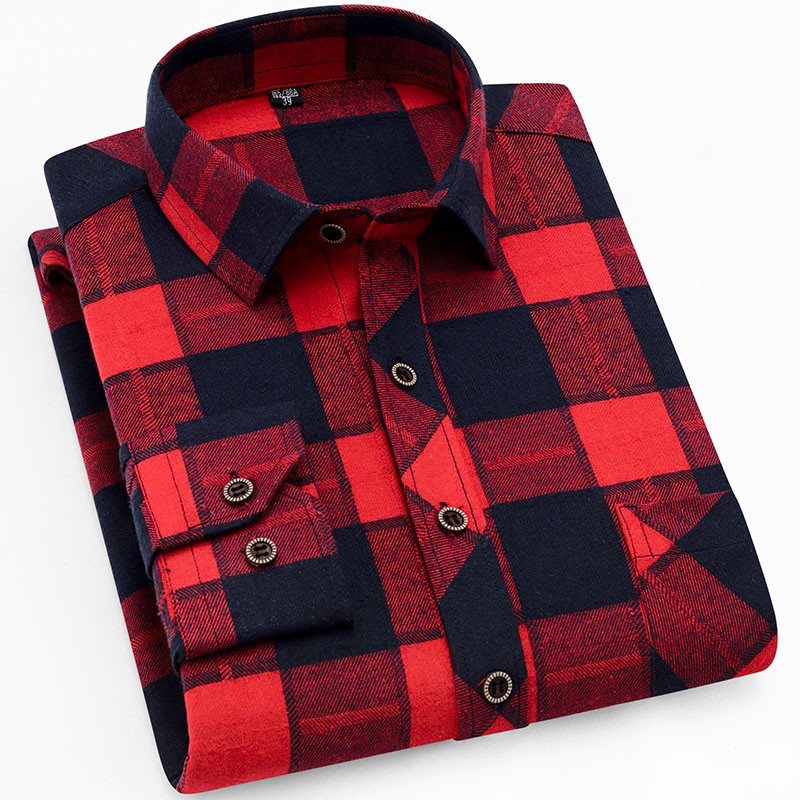 18 Colors 2019 Autumn Winter Warm Thick Mens Dress Shirt Casual Plaid Shirt Men  Brand Quality Cotton Social Business Shirt Men 24