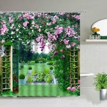 Waterproof Shower Curtain Set Flowers Arch Bridge Landscape Home Decor Bathroom Curtain Polyester fabric Background Wall Decor