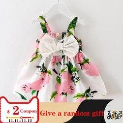 В 2018 году, новое милое детское платье до колена без рукавов с бантом одежда для девочек Детские платья принцессы для дня рождения, горячая Ра...