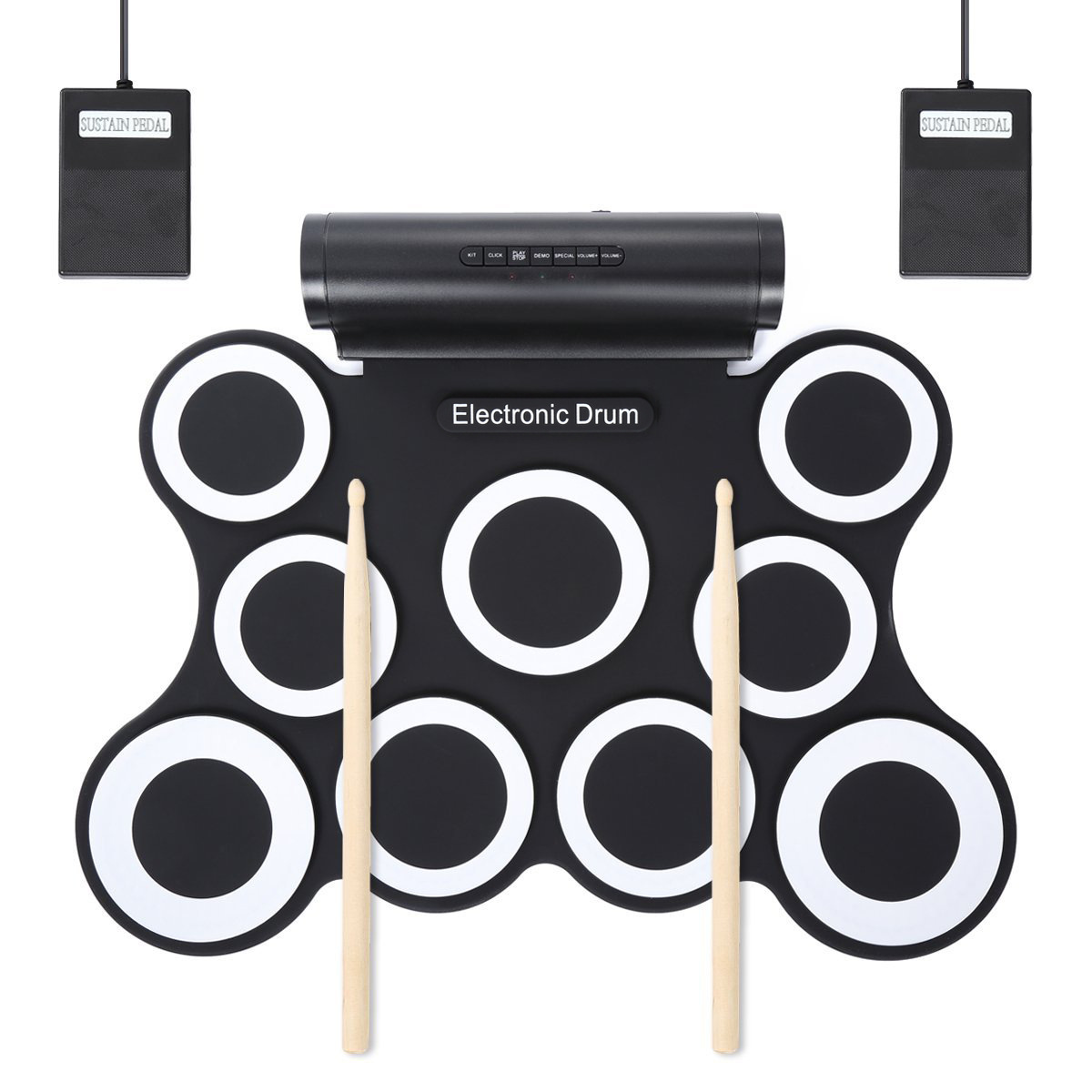 2018-9 Drum Pad Convenient Hand Roll Electronic Drum Kit Jazz Drum Play Computer Game Percussion Instrument