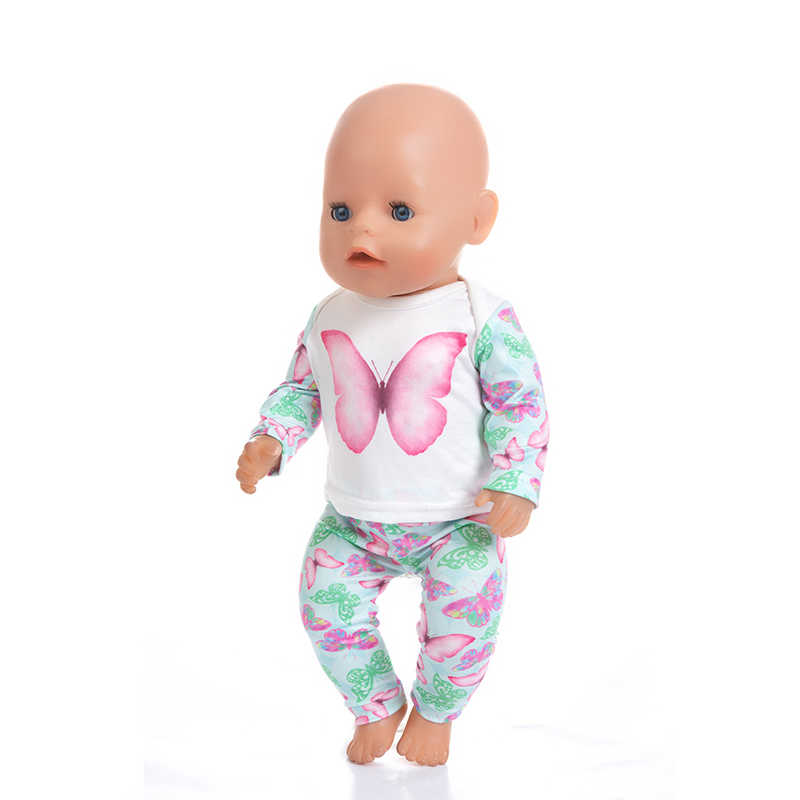 Fashion Butterfly Surit Wear For 43cm Zapf Baby Doll 17 Inch Born Babies Dolls Clothes And Accessories
