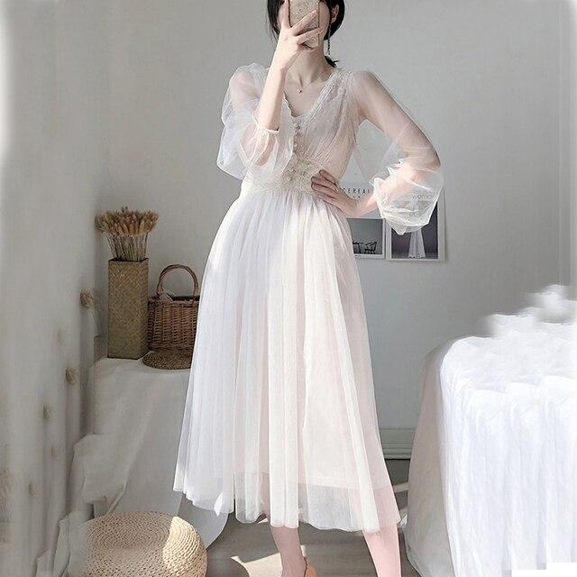 Off Shoulder Chiffon Fairy Style Dress 5