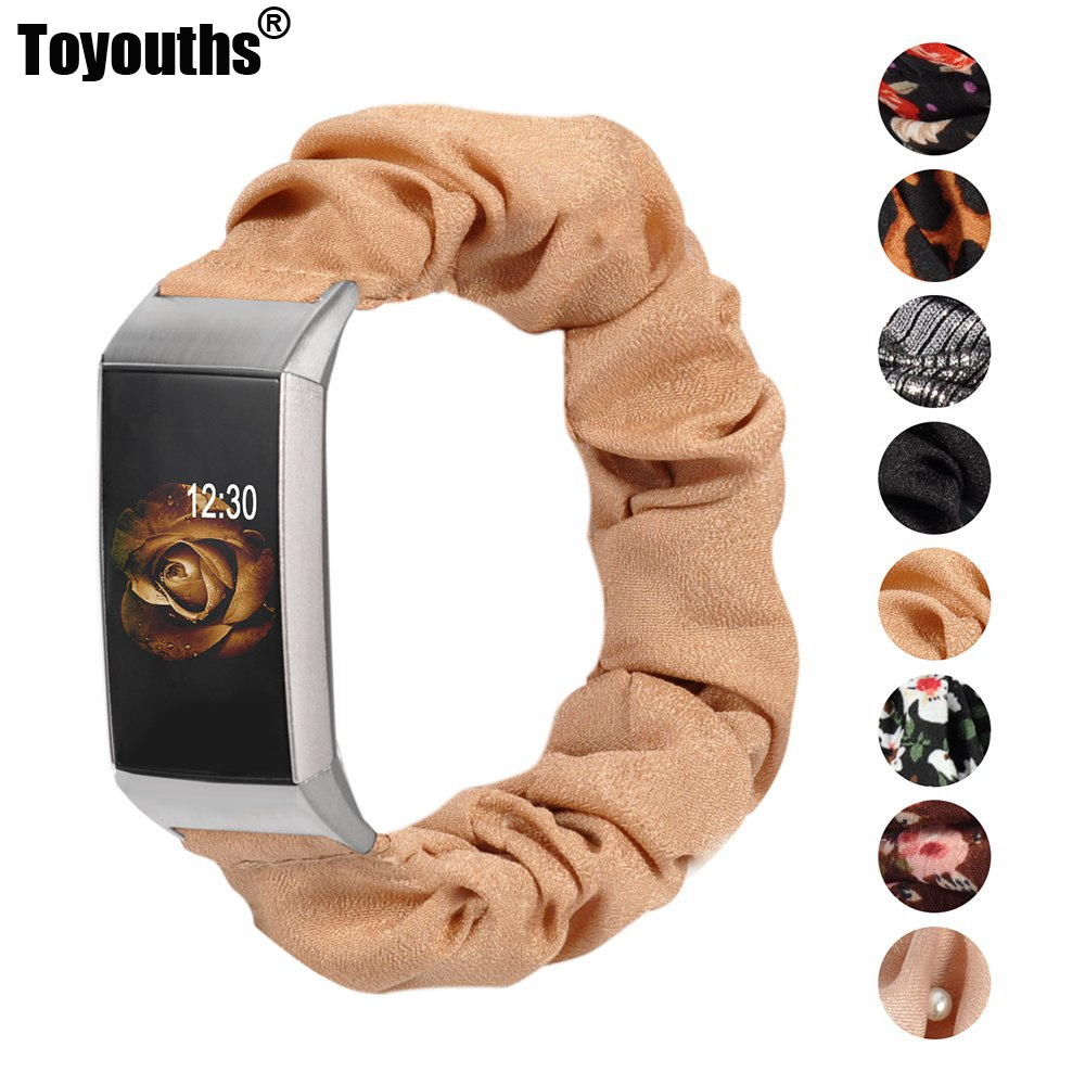 Toyouths Fabric Scrunchies Band for Fitbit Charge 4 Leisure Sport Elastic Strap Replacement Accessories for Fitbit Charge 3 1