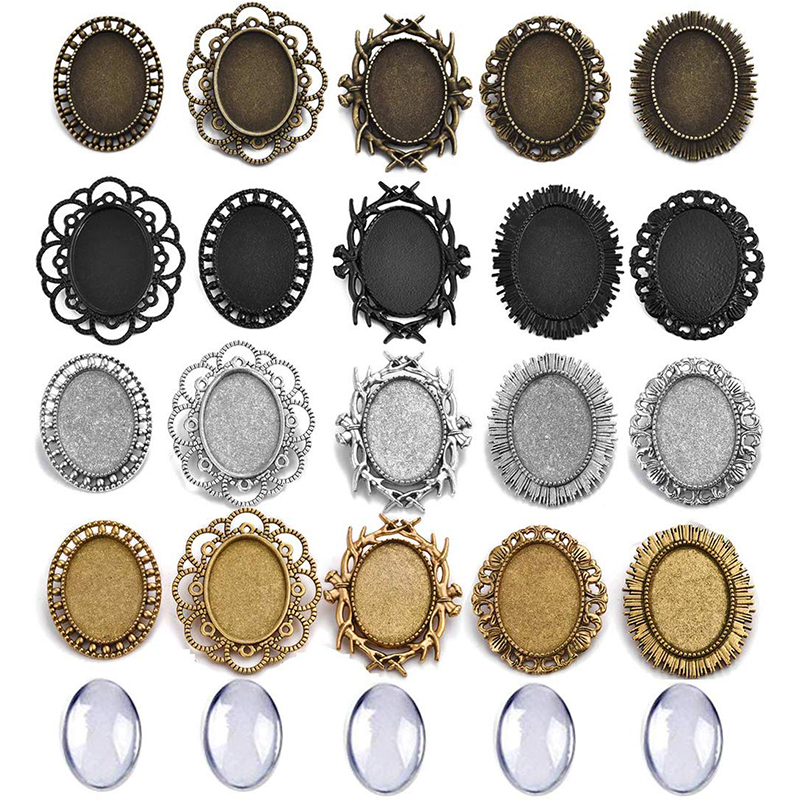 10pcs/Set Alloy Brooch Base Tray Settings With Glass Cabochons 25mm 18x25mm 30x40mm Round Oval Shaped Blank Jewelry Bases DIY