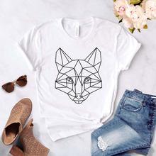 Летняя женская футболка с геометрическим принтом лисы модная