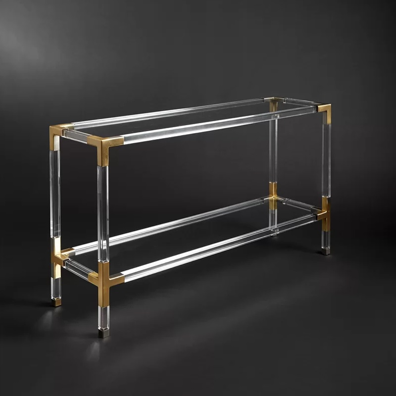 80cm High Clear Console Table with Stainless Steel Adapting and Tempered Glass Top / Plastic Table Legs of Acrylic PMMA Polymers
