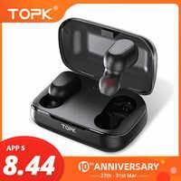TOPK наушники-вкладыши TWS Bluetooth 5,0 светодиодный Дисплей Беспроводной Bluetooth наушники С микрофоном мини беспроводные Bluetooth наушники для Xiaomi