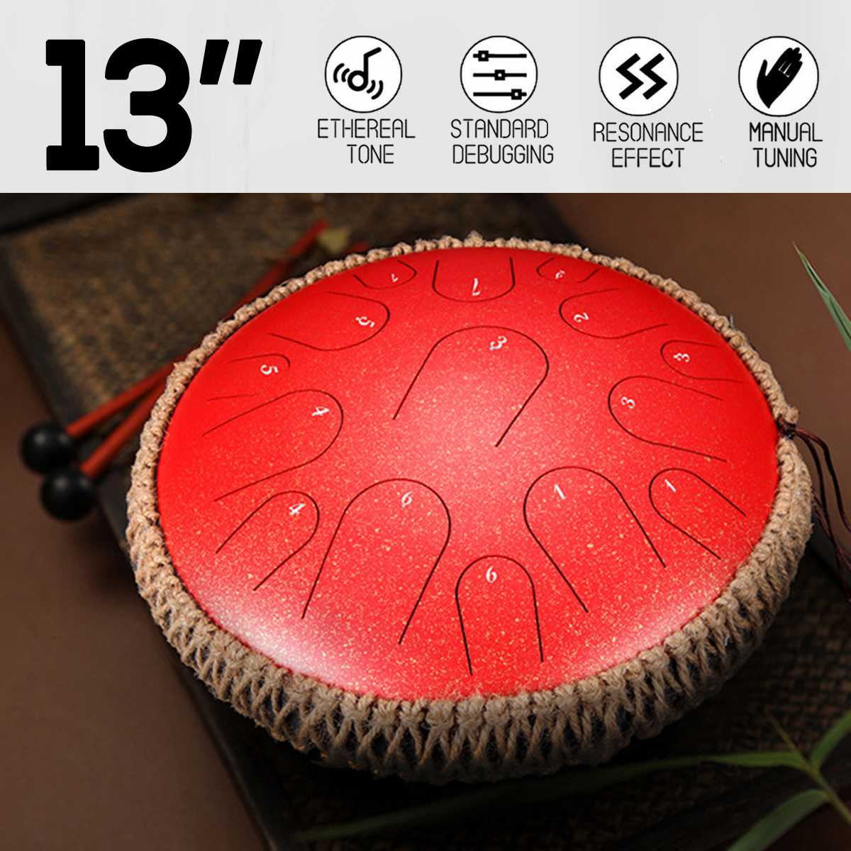 Handmade Handpan 13 Inch Mini Drum 15 Tone Steel Tongue Percussion Drum Handpan Instrument With A Carry Bag Musical Instruments