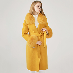 Image 2 - ผู้หญิงเสื้อขนสัตว์ฤดูใบไม้ผลิจริงฟ็อกซ์ขนสัตว์เสื้อขนสัตว์เอวSlimสุภาพสตรียาวOvercoat