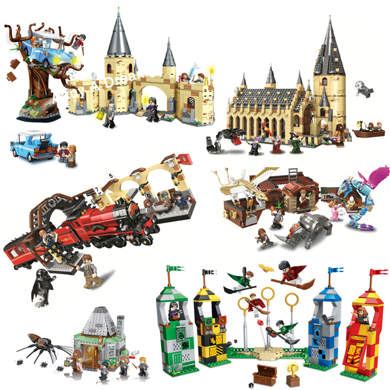 Harri Castle Express Train House Bricks City Creator Compatible Lepining Harri 75951 75955 75954 Building Blocks Toy For Child