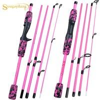 Sougayilang, желтый, розовый, черный, 5 секционная удочка для путешествий, Ультралегкая, Eva ручка, Спиннинг/литье, удочка, рыболовные снасти