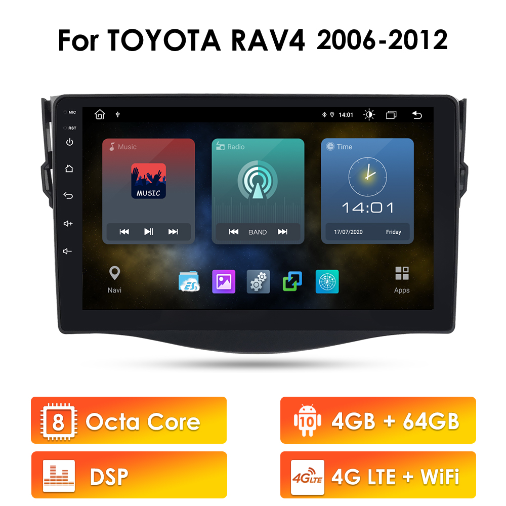 8Core 4G+64G Android For Toyota RAV4 Rav 4 2006-2017 Car Radio Multimedia Video Player Navigation GPS RDS 2 din no-dvd head unit image