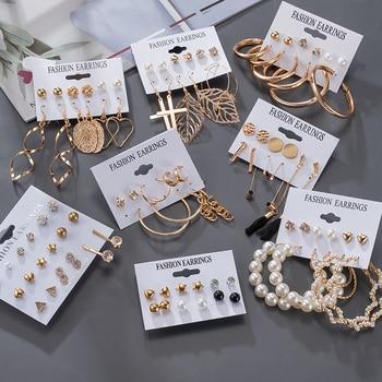 Women's Earrings Korean Stud Earrings for Women Vintage Pearl Butterfly Gold Cross Earring Set 2021 Trend Earings Femauu Jewelry 1