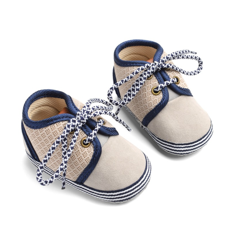 Baby Shoes Baby The First Walker Shoesborn Blue Pattern Round Lace Cotton Mesh Stitching Shoes Baby Boy Girl Shoes