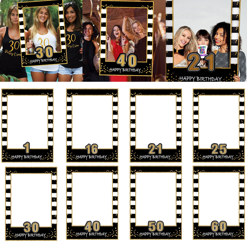 16th 21th 30th 40th 50th 60th Birthday Photo Booth Frame Props ONE Year Old Birthday Party Decorations Adult PhotoBooth Props