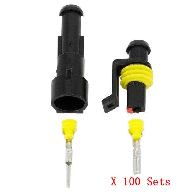 100 комплектов, 1 контактный разъем AMP 1,5, стандартный водонепроницаемый разъем для электрического провода, автомобильный разъем для ксеноновой лампы