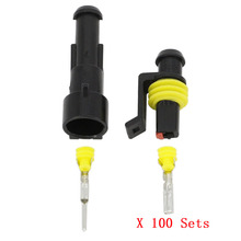 100 Sets 1 دبوس AMP 1.5 موصلات ، DJ7011 1.5 مقاوم للماء سلك كهربائي موصل التوصيل ، زينون مصباح موصل السيارات