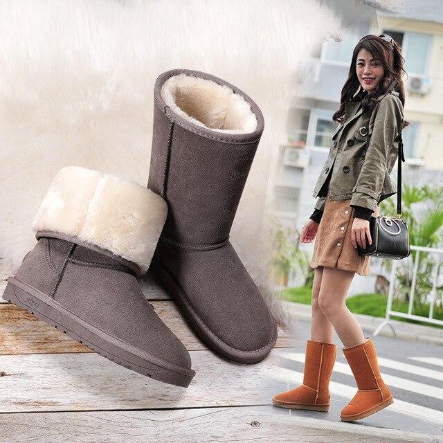 ホットオーストラリアの女性ユニセックストール雪のブーツ防水冬革ロングブーツブランド冬暖かい屋外靴のサイズ eu 35 40