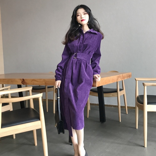 New Retro Slim Lapels Women Corduroy Dress Autumn Winter Female Turn Down Collar A-line Long Dresses With Sashes Ka148