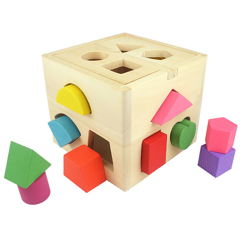 LIN Kids Baby Educational Toys Wooden Building Block Toddler Toys