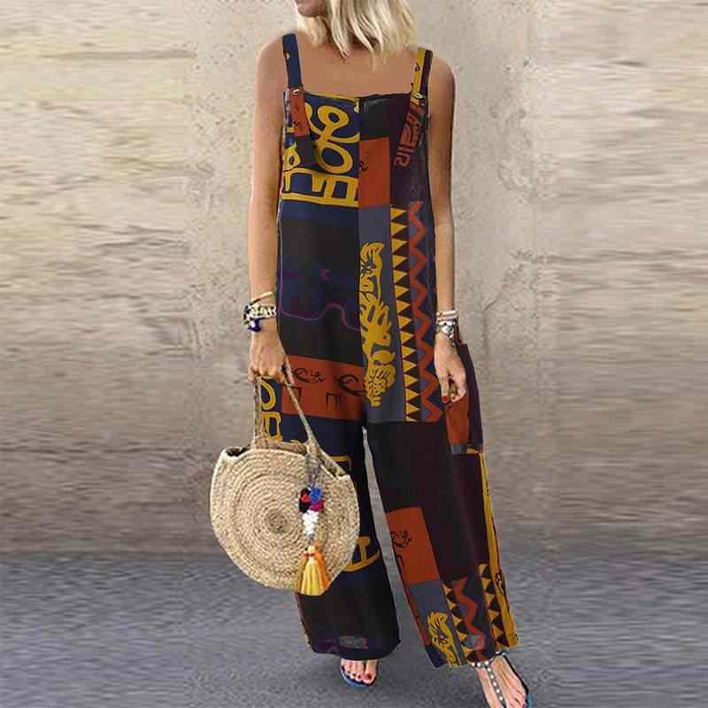 Летний винтажный комбинезон для вечеринки 2019 женский этнический Длинный комбинезон с принтом, богемные широкие комбинезоны, свободные штаны