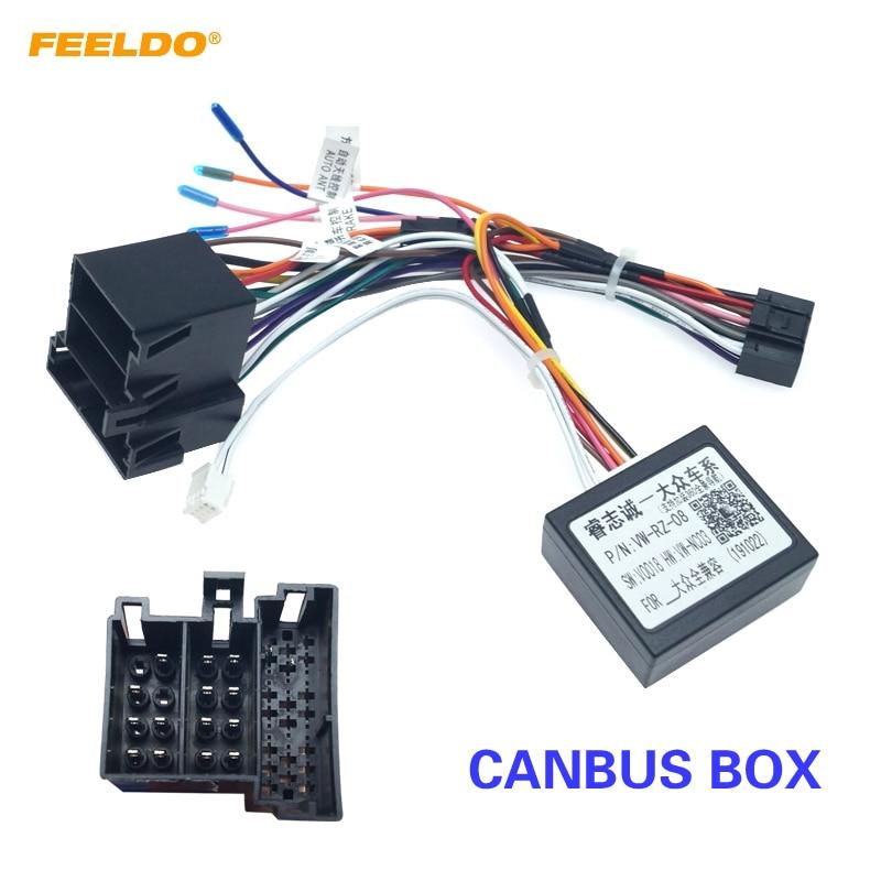 FEELDO Auto Radio Stereo Kopf Einheit 16Pin Kabelbaum Adapter Mit Canbus Box Für Volkswagen Android Power Kabel Stecker
