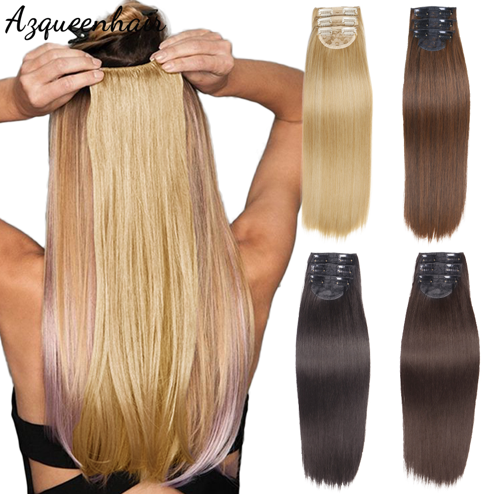 Azqueen 24inch 60cm Long Straight Synthetic Clip-in Extension 2 Clips False Hair Blonde Brown Black Hair Pieces For Women