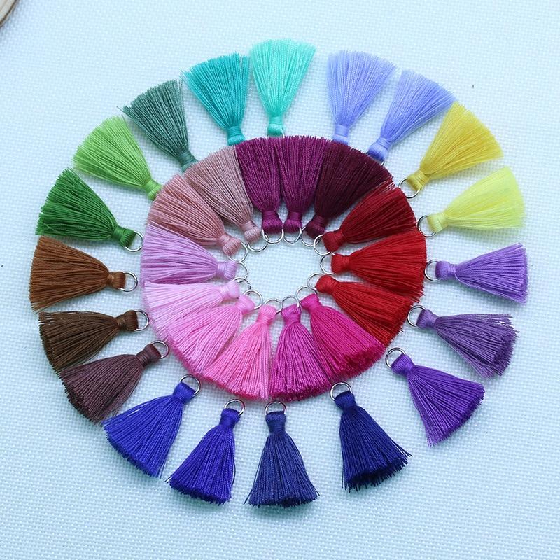 10 sztuk/partia 3.5cm małe bawełniane frędzle kolorowe Mini poliester Fringe Tassles uroku wisiorek dla DIY dynda kolczyk two...