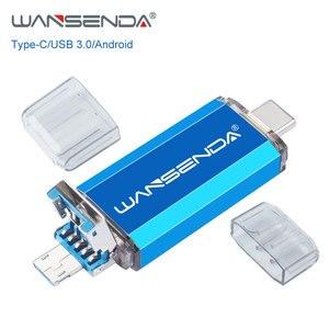 WANSENDA Type C USB Flash Drive Pen Drive OTG 3 in 1 USB 3.0 & Type C & Micro USB Stick 512GB 256GB 128GB 64GB 32GB Pendrives