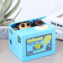 Caixa de dinheiro macaco automático roubar moeda gato kitty moedas centavos mealheiro economia caixa de dinheiro crianças moneybox para crianças presente
