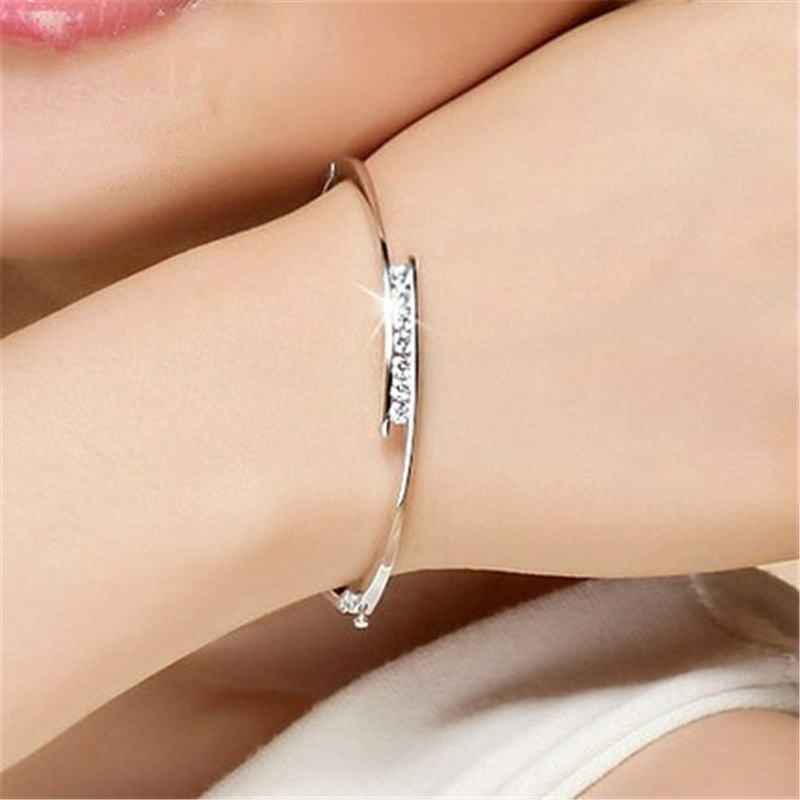 Silver Color S925 Bangle 1.5 Carat Diamond Female Opening Clasp Bizuteria Pulseras Ley 925 Sterling Mujer For Women Bangle
