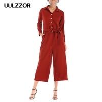 UULZZOR women jumpsuits orange Overalls button rompers belt jumpsuit streetwear long long sleeve shirt jumpuit office rompers