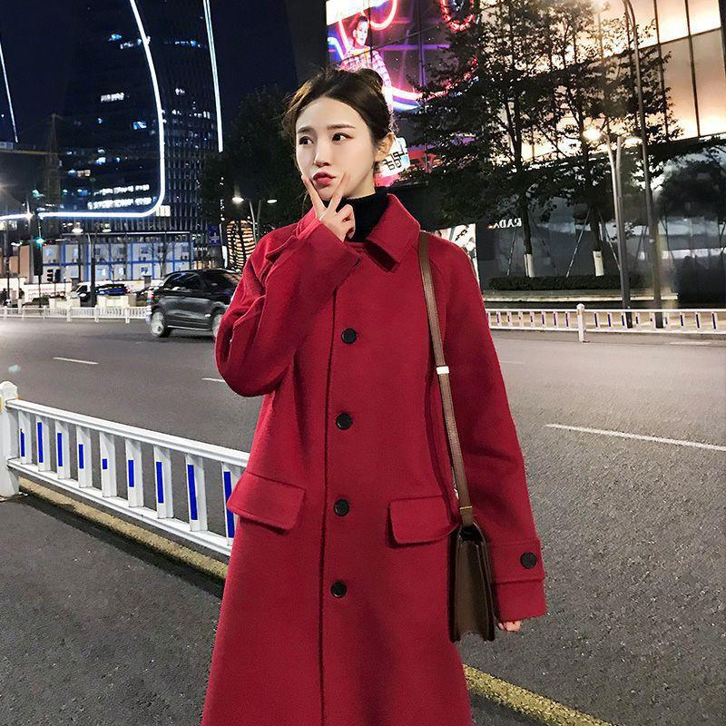 2019 inverno mistura de lã feminino manga longa quente engrossar casaco de lã feminino jaqueta vermelha casual outono inverno elegante casaco yl538 - 2