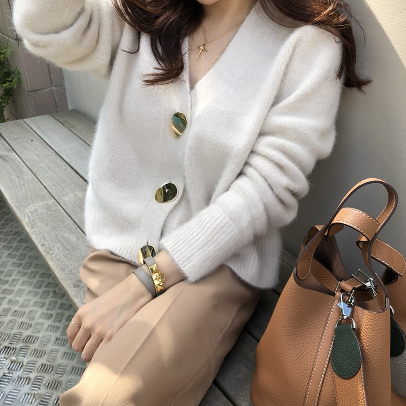 Solid Elegant Casual Sweater Cardigan Sweater Women V-Neck Winter Jumper Korean Button Oversized Cardigans Harajuku Cashmere New