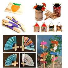 50 PCS Wooden Lollipop Popsicle Sticks Party Kids Crafts Ice Cream Lolly Cake Pops Making 11cmx0.9cm(China)