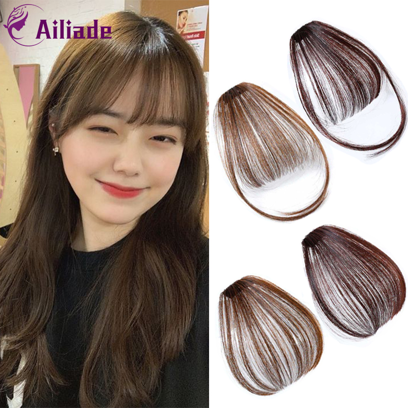 AILIADE Fake Fringe Clip In Bangs Hair Extensions With High Temperature Synthetic Fiber Frivolous Black Brown Blonde