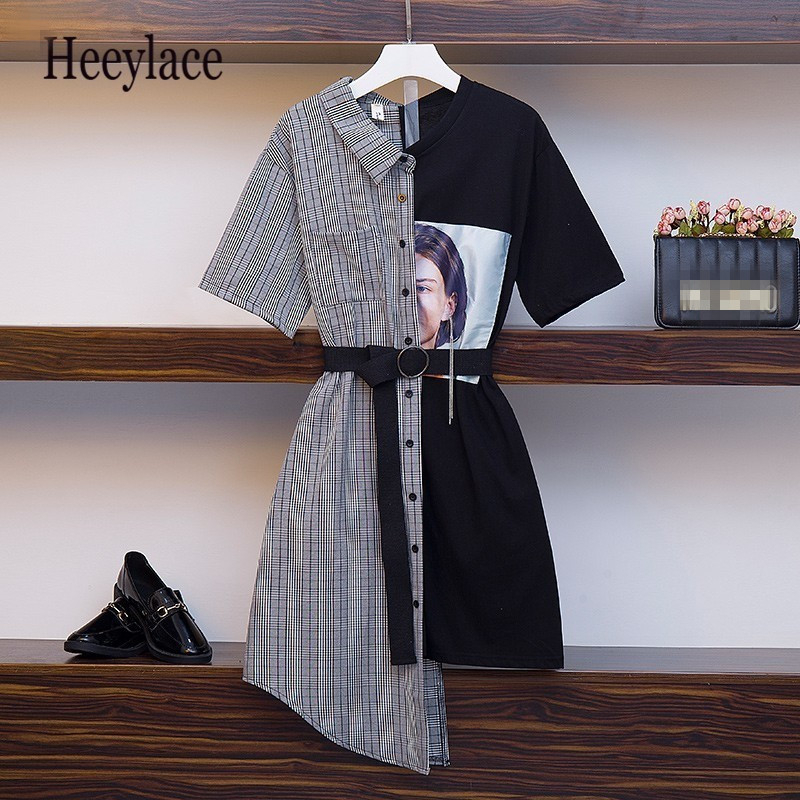 High Quality Irregular Patchwork Dress Women 2019 New Casual Office Lady Vintage Dress With Belt Vestido Plus Size