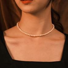 Collana girocollo di perle imitazione semplice stile INS per gioielli moda donna collana catena damigella d'onore all'ingrosso