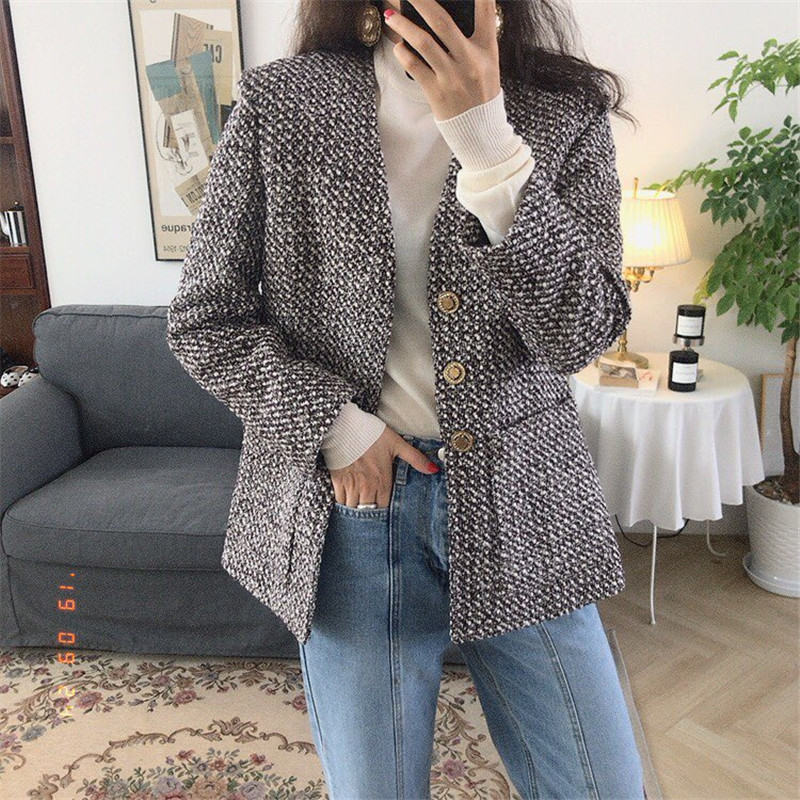 HziriP Women Business Faux Wool Tweed   Jacket   Office Lady Coat Outwear V-neck Loose Casual Long Sleeve   Basic   Tops Chaquetas Mujer